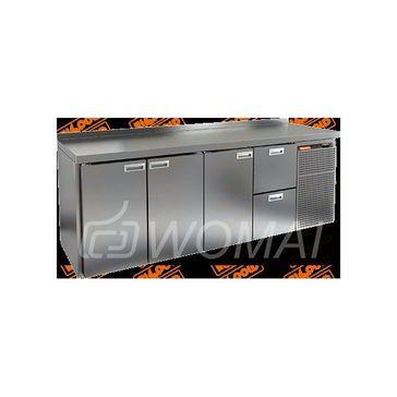 GN 1112 BR2 TN стол охл. (-2+10), 3 двери, 2 ящика, увелич. объёма, на низ. ножках, 2395х700х850мм, HICOLD RUS