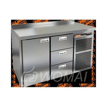 GN 13 BR2 BT стол. охл. (-10-18), 1 дверь, 3 ящика, увелич. объема, на низ. ножках, 1505х700х850мм, HICOLD RUS