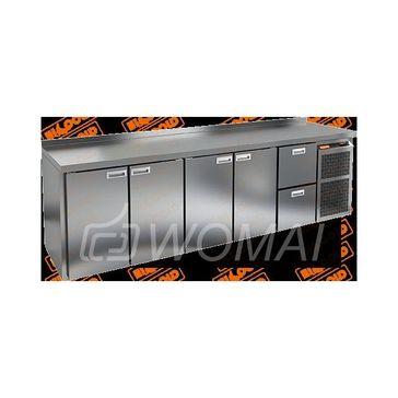 GN 11112 BR2 BT стол охл. (-10-18), 4 двери, 2 ящика, увелич. объёма, на низ. ножках, 2840х700х850мм, HICOLD RUS