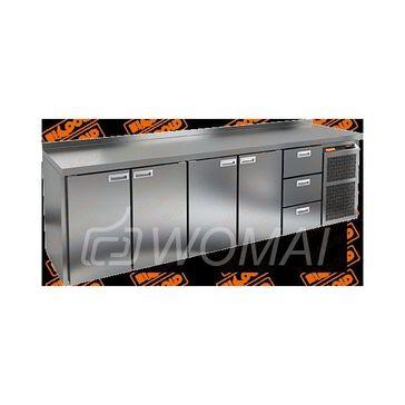 GN 11113 BR2 BT стол охл. (-10-18), 4 двери, 3 ящика, увелич. объёма, на низ. ножках, 2840х700х850мм, HICOLD RUS