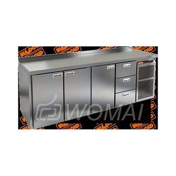 BN 1113 BR2 BT стол охл. (-10-18), 3 двери, 3 ящика, увелич. объёма, на низ. ножках, 2280х500х850мм, HICOLD RUS