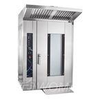 Ротационный пекарский шкаф РПШ-18-8-6МР, разборная конструкция, увеличенное стекло двери, регулир. скор-ти вращения вентил-ров, 110 программ (до 4-ех этапов в каждой), прошивка через USB-порт, в комплекте с тележка-шпилька ТШГ-18 на 18 уровней 800х600 мм