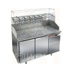 PZ3-11/GN КАМЕНЬ стол для пиццы охл.(+2+10), 2 двери, с бортом с 3х сторон, 1390х700х1050мм, HICOLD RUS