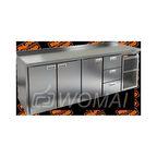 GN 1113 BR2 TN стол охл. (-2+10), 3 двери, 3 ящика, увелич. объёма, на низ. ножках, 2395х700х850мм, HICOLD RUS