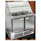 SLE3-11GN ВЫСОКОЕ СТЕКЛО стол для салатов, охл.(+2+10), 2 двери, 1000х700х1315мм, ниж.распол.агрегата, HICOLD RUS