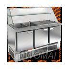 SLE3-111GN О ВЫСОКОЕ СТЕКЛО стол для салатов,охл.(+2+10), 3 двери, 1485х700х1315мм, ниж.распол.агрегата, HICOLD RUS