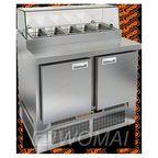 PZE2-11/GN (1/6H) СО СТЕКЛОМ стол для пиццы охл. (+2+10), 2 двери, 1000х700х1160мм, глуб.раб.пов. 486мм, ниж.распол.агрегата, HICOLD RUS