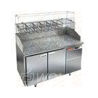 PZ3-11/SN КАМЕНЬ стол для пиццы охл. (+2+10), 2 двери, с бортом с 3х сторон, 1390х600х1050мм, HICOLD RUS